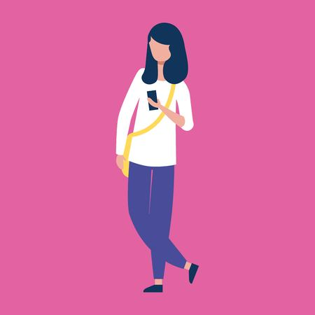 outdoor activities woman with crossed foot holding smartphone vector illustration