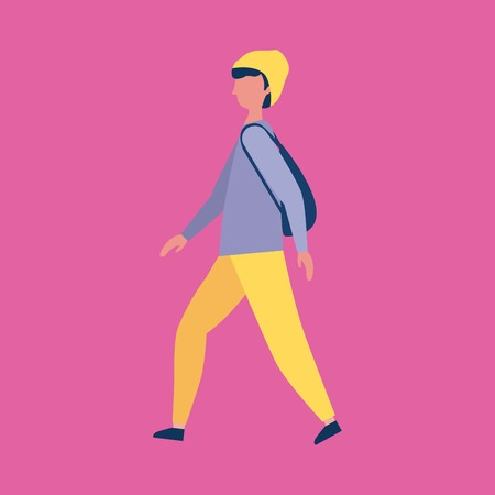 outdoor activities man using bonnet walking vector illustration 向量圖像