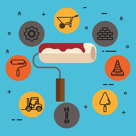 paint roller with under construction equipment vector illustration Illustration