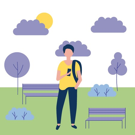 outdoor activities boy using bag holding telephone in the park vector illustration Stock Vector - 109952043