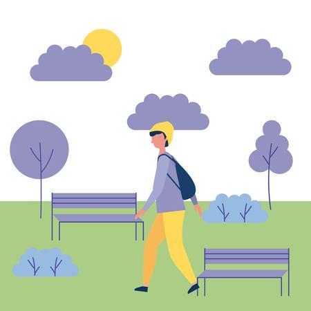 outdoor activities boy walking in the park vector illustration Illustration