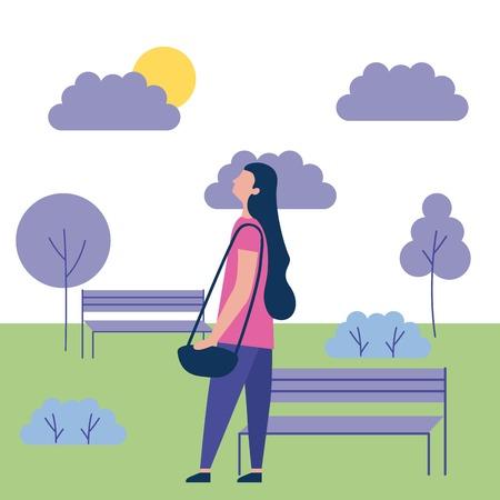 outdoor activities girl looking up in the park sun vector illustration