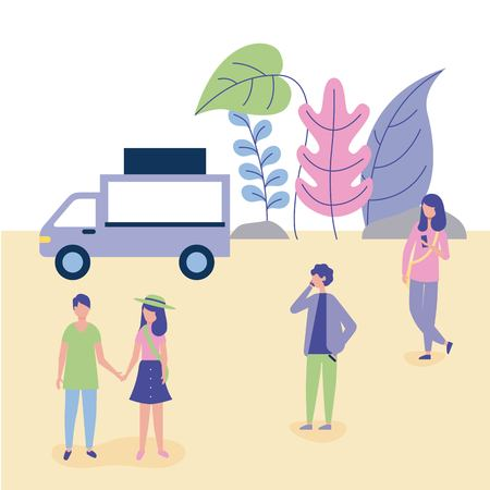 outdoor activities food car couple holding hands girl and boy using telephone in the park vector illustration