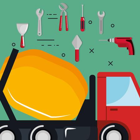 truck with under construction equipment vector illustration design Ilustração