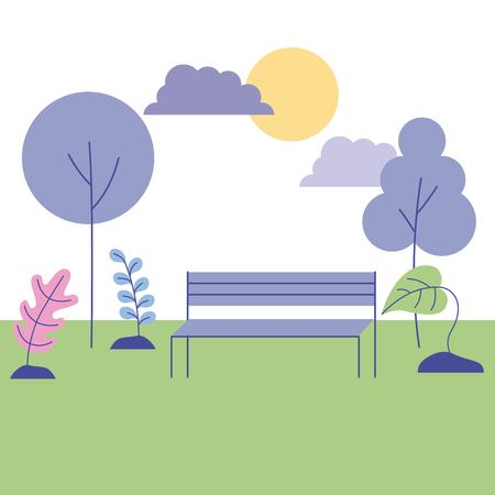 outdoor activities nice park flowers bank sunday vector illustration