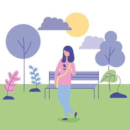 outdoor activities girl with bag in the park flowers sunday vector illustration Illustration