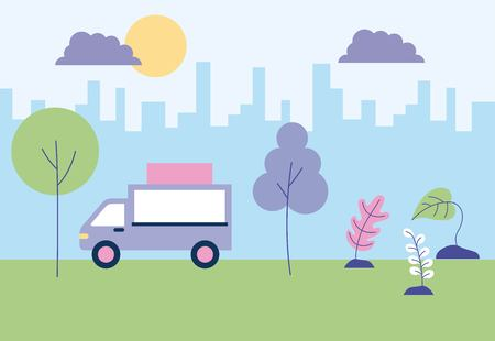 outdoor activities food car in the city park vector illustration