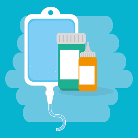 bottle drugs with medical healthcare icons vector illustration design