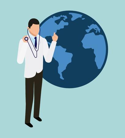 digital health doctor with stethoscope world vector illustration Illustration