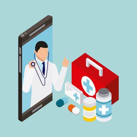 digital health smartphone screen doctor stethoscope medicines pills vector illustration Illustration