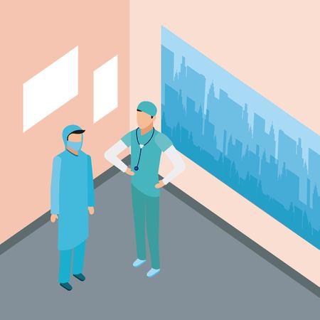 médicos médicos médicos médicos de pie sala de exámenes ilustración vectorial Ilustración de vector