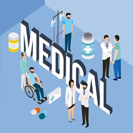 medical people health sign doctors nurse patients and medicines vector illustration