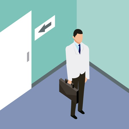 medical people health hospital room doctor holding portfolio vector illustration Illustration