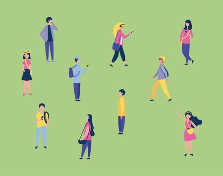 outdoor activities boys and girls using telephones walking greeting vector illustration