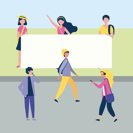 outdoor activities girls and boys in the park street walking vector illustration