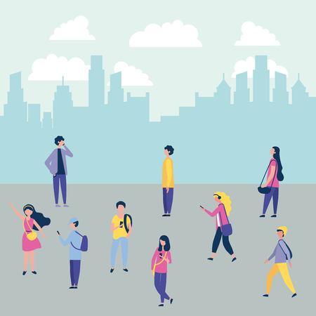 Outdoor-Aktivitäten Stadt Menschen zu Fuß Straße Vektor-Illustration Vektorgrafik
