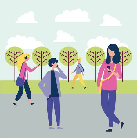 outdoor activities people in the park talking telephone listen music vector illustration Illustration