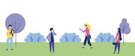outdoor activities park people walking listen music vector illustration 向量圖像