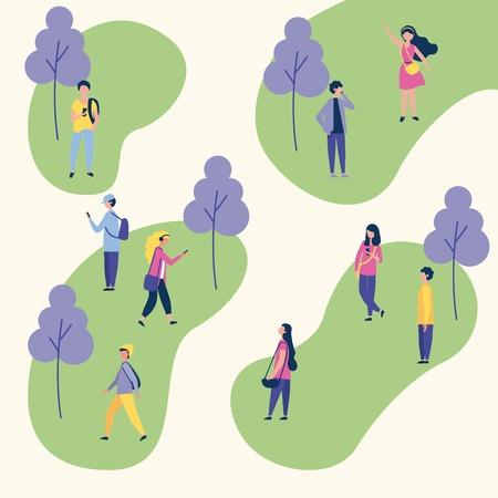 attività all'aperto alberi parco persone sociali a piedi utilizzando il telefono illustrazione vettoriale