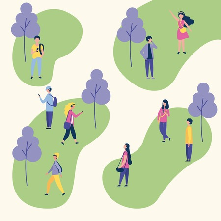 outdoor activities trees park people social walking using telephone vector illustration
