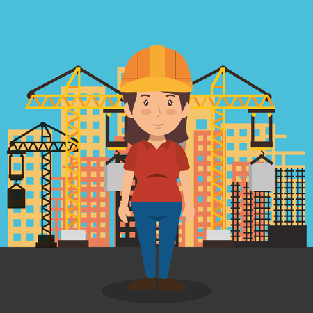 woman builder character working vector illustration design