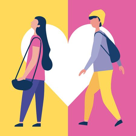 outdoor activities boy and girl walking heart love vector illustration