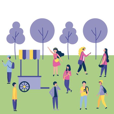 outdoor activities food car people in the park enjoy vector illustration