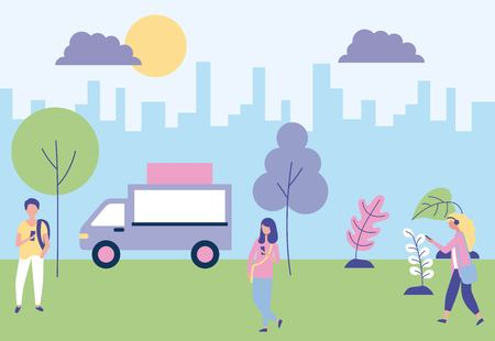 outdoor activities city park couple girls walking enjoy vector illustration