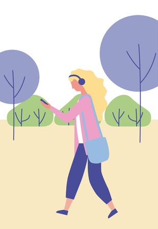 outdoor activities girl listen music in the park vector illustration