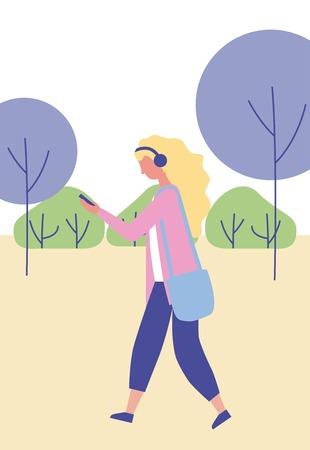 outdoor activities girl listen music in the park vector illustration