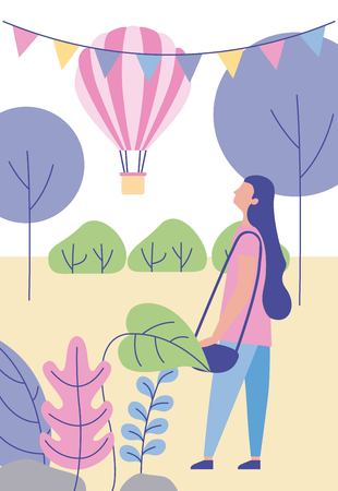 outdoor activities hot air balloon pennants girl in the park vector ilustration 向量圖像