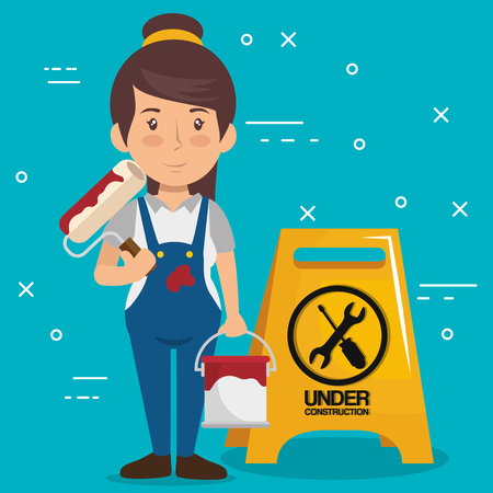woman builder character working vector illustration design