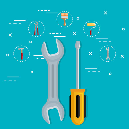 tools with under construction equipment vector illustration design Illustration