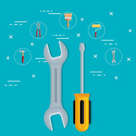 tools with under construction equipment vector illustration design Ilustração