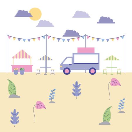 outdoor activities food cars cute flowers in the park pennants vector illustration