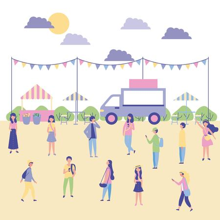 outdoor activities people enjoy in the park food car place to eat vector illustration