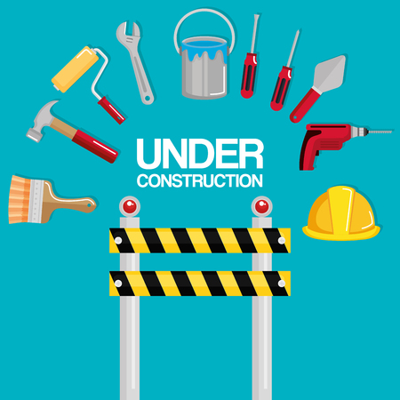 fence with under construction equipment vector illustration design