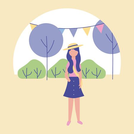 outdoor activities sticker pennants trees park girl with hat vector illustration