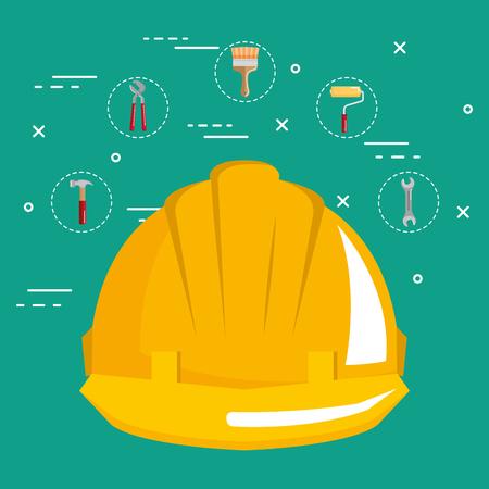 helmet with under construction equipment vector illustration design