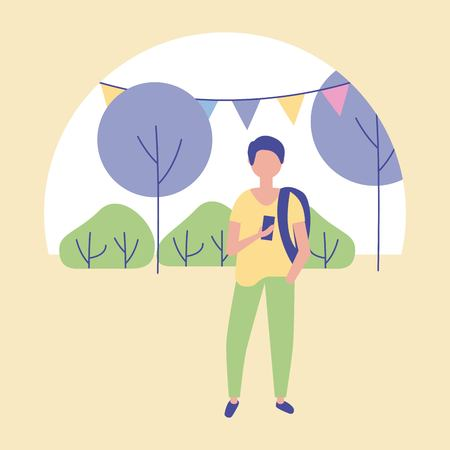 outdoor activities boy using telephone in the park pennants and trees vector illustration