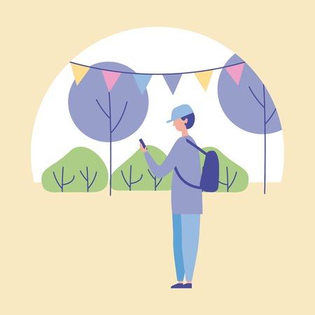 outdoor activities boy with hat using telephone park pennants trees vector illustration Illusztráció
