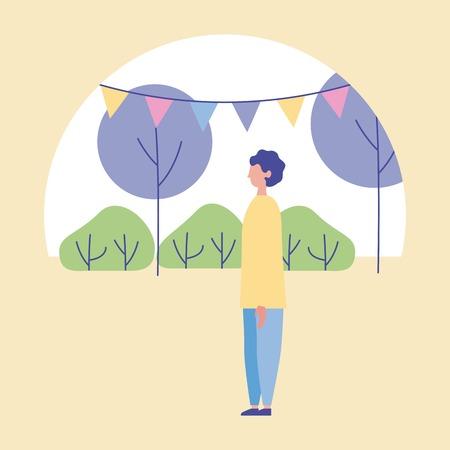 outdoor activities sticker colors pennants park boy standing vector illustration Stock Vector - 109952118