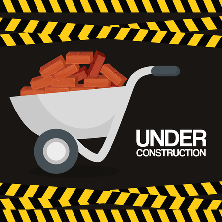 wheelbarrow with bricks under construction vector illustration design