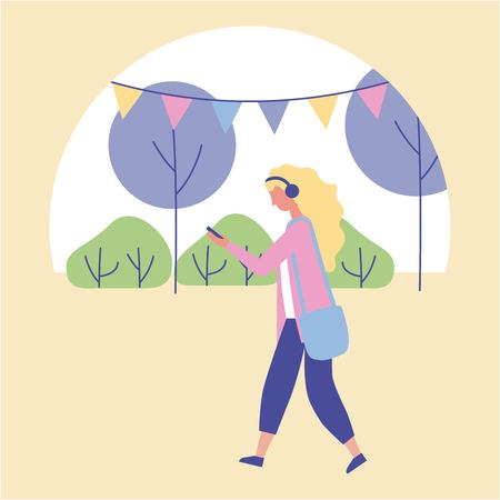 outdoor activities blonde girl walking and listen music in the park vector illustration