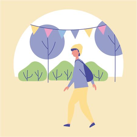 outdoor activities boy walking in the park trees and pennants vector illustration
