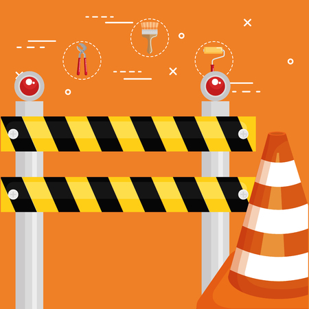 fence with cone construction vector illustration design