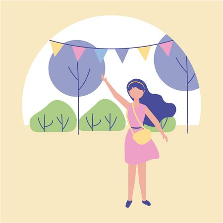 outdoor activities pennants in the park cute girl greeting vector illustration