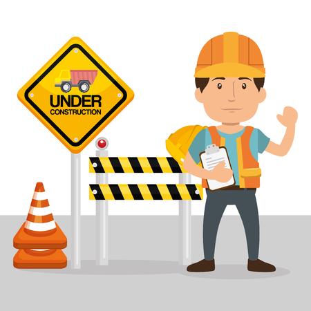 builder character with construction equipment vector illustration design Çizim
