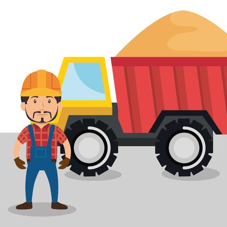 man builder character working vector illustration design