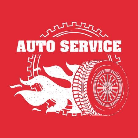 industria automobilistica ruota auto in fuoco emblema illustrazione vettoriale